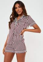 Missguided Burgundy Striped Satin Drawstring Bag Short Sleeve Pyjama Set