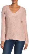 Susina Fluffy V-Neck Boucle Knit Sweater