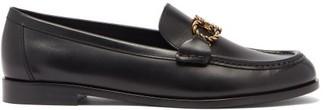 Salvatore Ferragamo Gancini Chain Flat Leather Loafers - Black