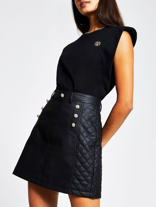 River Island Button Detail Quilted PU Mini Skirt - Black
