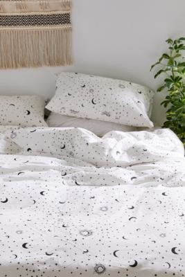 Urban Outfitters Black and White Moon Duvet Cover Set - Black KING at