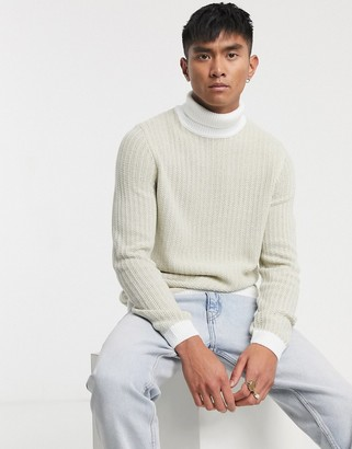 ASOS DESIGN textured rib turtleneck sweater with contrast ribs in white