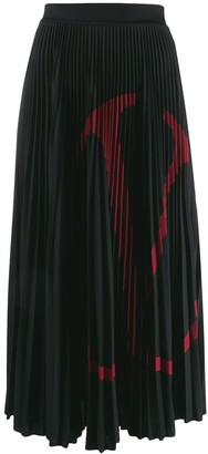 Valentino VLOGO print pleated skirt