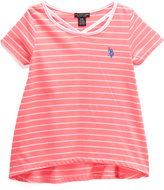 U.S. Polo Assn. Neon Coral & White Stripe Hi-Low Tee - Toddler & Girls