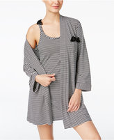 Kate Spade Striped Bow-Trimmed Robe