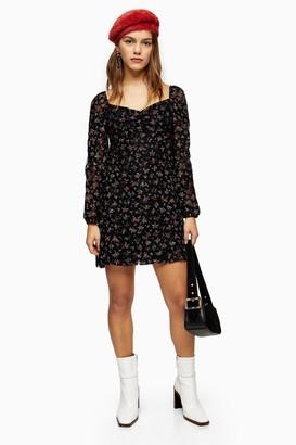Topshop Womens Petite Black Floral Lace Gypsy Mini Dress - Black