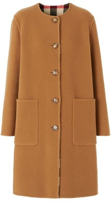 Burberry Reversible Check Technical Wool Coat