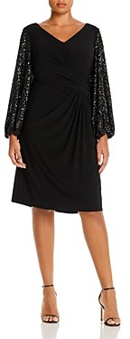 Adrianna Papell Draped Sequin-Sleeve Dress