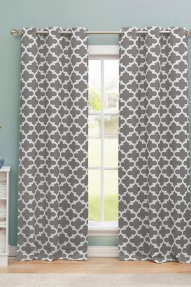 Duck River Textile Kyra Geometric Blackout Curtain Set - Gray