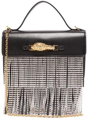 Gucci Broadway Crystal-fringe Leather Shoulder Bag - Black