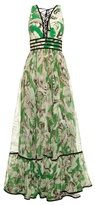 Roberto Cavalli Tropical floral-print silk gown