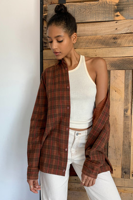Urban Renewal Vintage Recycled Overdyed Boyfriend Flannel Shirt