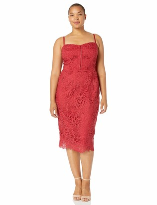 City Chic Women's Apparel Women's Plus Size Knee-Length Cocktail Dress with lace Detail