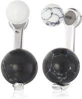 Noir Semi Precious Sphere Rhodium Earring Jackets