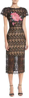 Jovani Floral-Insert Lace Dress w/ Short Sleeves