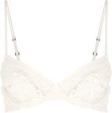 Azalea Off-white underwired bra in Leavers lace and silk georgette