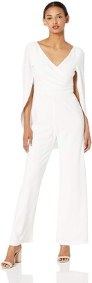 Adrianna Papell Women's Wide Leg Jumpsuit with Draped Sleeves
