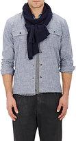 Barneys New York Men's Cashmere Stockinette-Stitched Scarf-NAVY