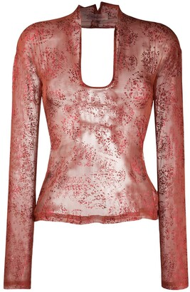 Romeo Gigli Pre-Owned 1990s Lace-Up Sheer Blouse