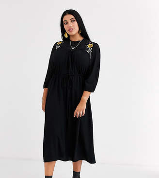 Junarose embroidered midi dress-Black