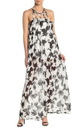 Moon River Print Halter Maxi Dress
