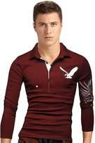 Legou Men's Long Sleeve Golf Casual Sports Polo Shirts XXL