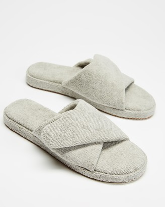 Staple Superior - Grey Sandals - Vegas Terry Towelling Velcro Slides - Size M7/W9 at The Iconic