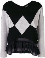 Twin-Set contrast panelled sweater