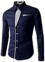 ARJOSA Men's Color Block Button-Down Pockets Point Collar Slim Fit Dress Shirt (, Dark Blue)