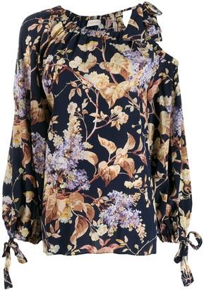 Zimmermann Sabotage floral-print draped blouse