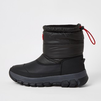 Hunter River Island Womens Originals Black padded snow boots