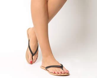 Office Stix Toe Post Mule Sandals Black Leather