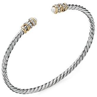 David Yurman Helena End Station Bracelet With 18K Yellow Gold, 2.75-3MM Pearls & Diamonds