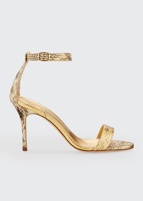 Manolo Blahnik Chaos 90mm Snake Ankle-Strap Sandals
