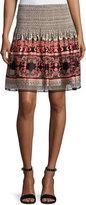Max Studio Smocked-Waist Flared Skirt, Black Pattern