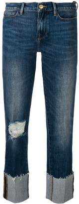 Frame Distressed Straight Jeans