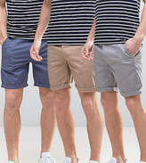 Asos 3 Pack Slim Chino Shorts In Stone Grey & Blue Save