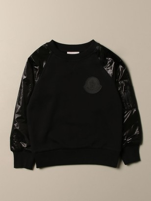 Moncler Sweatshirt In Cotton And Ripstop Nylon