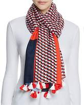 Tory Burch Windsurf Color-Block Logo Scarf