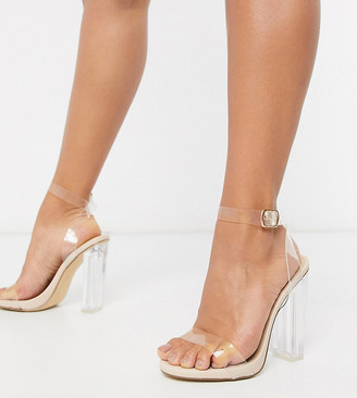 Truffle Collection wide fit clear block heeled sandals