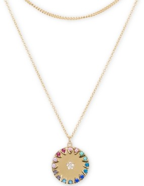 "Rachel Roy Gold-Tone Multicolor Pave Star Disk 16"" Layered Pendant Necklace"