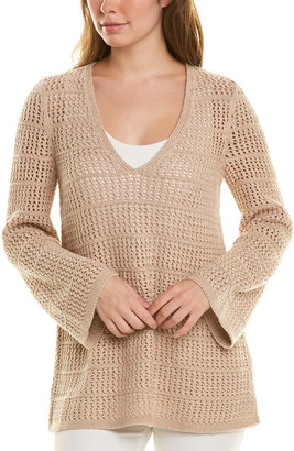 Lafayette 148 New York Open Stitch V-Neck Cashmere & Silk-Blend Sweater