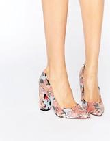 Little Mistress Coral Floral Print Block Heels