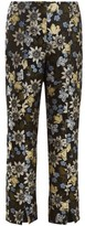 Erdem Syrah Floral-jacquard Cropped Trousers - Womens - Black Multi