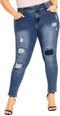 City Chic Apple Patched Ankle Skinny Jeans