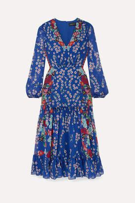 Saloni Devon Ruffled Floral-print Silk-chiffon Midi Dress - Royal blue