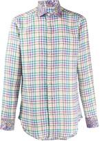 Etro gingham checked paisley print shirt