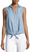 Soft Joie Creta Sleeveless Tie-Front Chambray Shirt, Blue