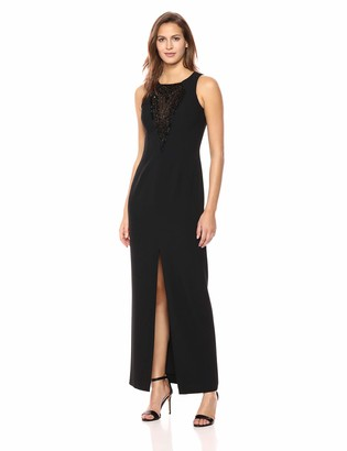 Vince Camuto Women's Crepe Sleeveless Gown with Embelishment