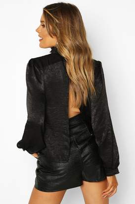 boohoo High Neck Satin Backless Top